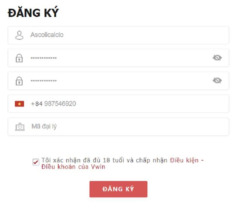 Biểu mẫu đăng ký tài khoản chơi game mới tại Vwin