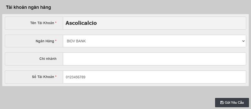 Cập nhật tài khoản ngân hàng trước khi thực hiện giao dịch tại Ucw88